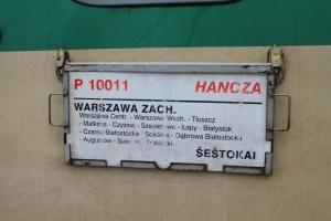 P 10011 HANCZA van Warszawa Zachodnia naar Sestokai.