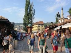 Centrale plein van de Baščaršija: vergeven van de toeristen